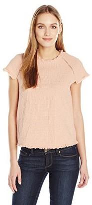 J.o.a. Women's Short Sleeve Fringe Top X