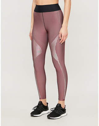 ULTRACOR Patent striped-print high-rise sports-jersey leggings
