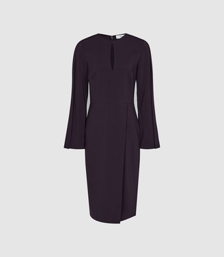 Reiss Anouk - Wrap Front Slim Fit Dress in Berry
