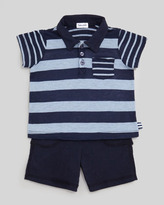 Splendid Littles Chambray Mix Stripe Slub Polo & Shorts Set, Sail Blue