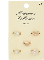 John Lewis Heirloom Collection Girls' Ring Set, Pack of 5