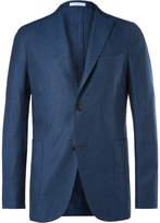 Boglioli Navy Silk and Linen-Blend Blazer