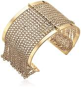 Steve Madden Gold Cutout Open Cuff with Chain Bangle Bracelet