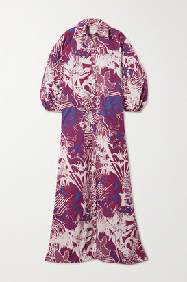 Halpern Oversized Printed Cotton-poplin Maxi Shirt Dress - Burgundy