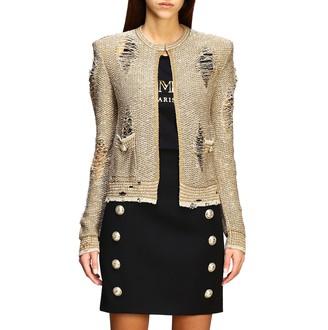 Balmain Sweater Lurex Cardigan With Jewel Buttons