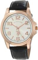 U.S. Polo Assn. Classic Men's USC50078 Black Strap with Rosegold-Tone Case Watch