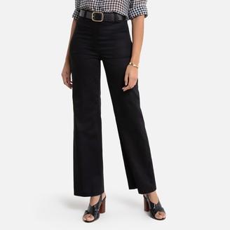 "La Redoute Collections Cotton Wide Leg Trousers, Length 30.5"""