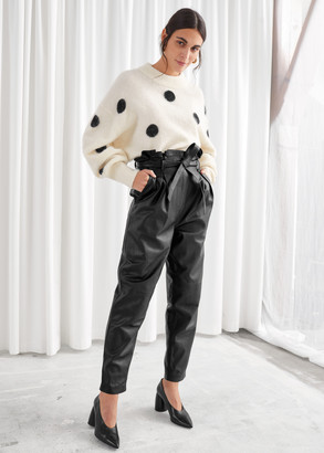 And other stories Paperbag Waist Leather Trousers