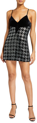 retrofete Eva Sequined Houndstooth Open-Back Mini Dress