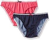 Tommy Hilfiger Women's 2pk Microfiber Ruched Bikini