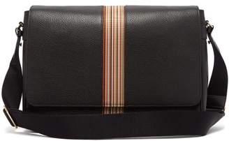 Paul Smith Signature-stripe Leather Messenger Bag - Mens - Black