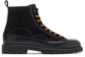 Paul Smith Buhl Topstitched Suede And Leather Boots - Black