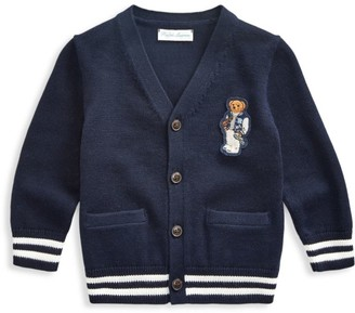 Ralph Lauren Baby Boy's Varsity Cotton Bear Cardigan