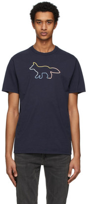 MAISON KITSUNÉ Navy Rainbow Profile Fox T-Shirt