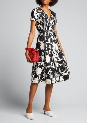 Oscar de la Renta Double-Face Floral Jacquard A-Line Dress