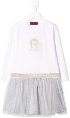 Aigner Kids logo long-sleeve dress