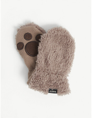Barts Al Paw-patterned faux-fur mittens