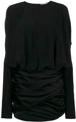 Saint Laurent draped shoulder mini dress