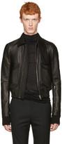 Rick Owens Black Leather Glitter Jacket