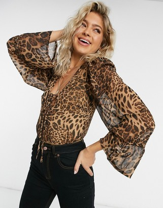 Saint Genies lace up detail plunge front bodysuit in leopard print