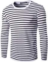 uxcell Allegra K Men Crew Neck Long Sleeves Striped T-shirt White S