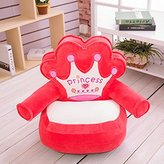 """Kids Mini Lounger Sofa,Bean Bag Chair Red,Novelty Birthday Gift Princess Crown PP Cotton Filler Washable 19""""x19"""""""