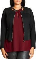 City Chic Textured Stretch Panel Ponte Jacket