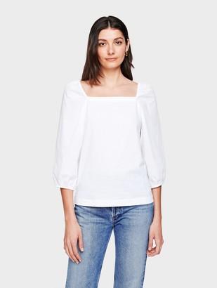 White + Warren Cotton Square Neck Poplin Sleeve Top
