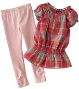 Chaps plaid ruffle top and leggings set - girls 4-6x