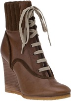 CHLOÉ CH17230 Wedge Boot Olive Leather