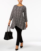 Alfani Plus Size Printed Swing Top, Only at Macy's
