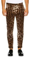 Dolce & Gabbana Leopard-Print Stretch-Cotton Trousers, Brown