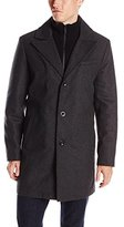 Kenneth Cole New York Men's Classic Wool Walker Coat with Knit Bib
