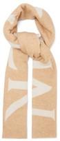 Moncler Logo-jacquard Wool-blend Scarf - Womens - Camel