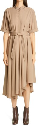 Brunello Cucinelli Asymmetrical Hem Wool Shirtdress