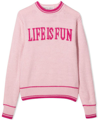 Alberta Ferretti Pink Life Is Fun Intarsia Jumper