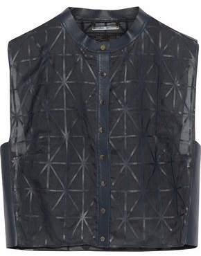 Giorgio Armani Cropped Leather-Trimmed Silk-Organza Vest
