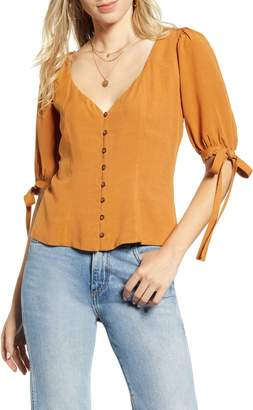 Socialite Tie Sleeve Button Front Blouse