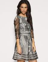Asos Embroidered Lace Fitted Waist Dress