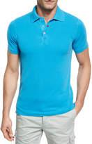 Kiton Piqué; Snap-Front Polo Shirt, Aqua (Blue)