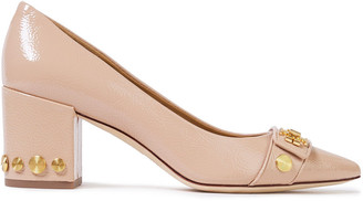 Tory Burch Kira 65 Embellished Crinkled Glossed-leather Pumps