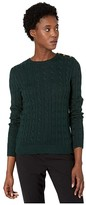 Lauren Ralph Lauren Button-Trim Cable Sweater (Deep Pine) Women's Clothing