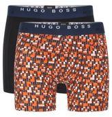 HUGO BOSS Boxer Brief 2P Print Cotton Boxer Briefs, 2-Pack M Open Orange