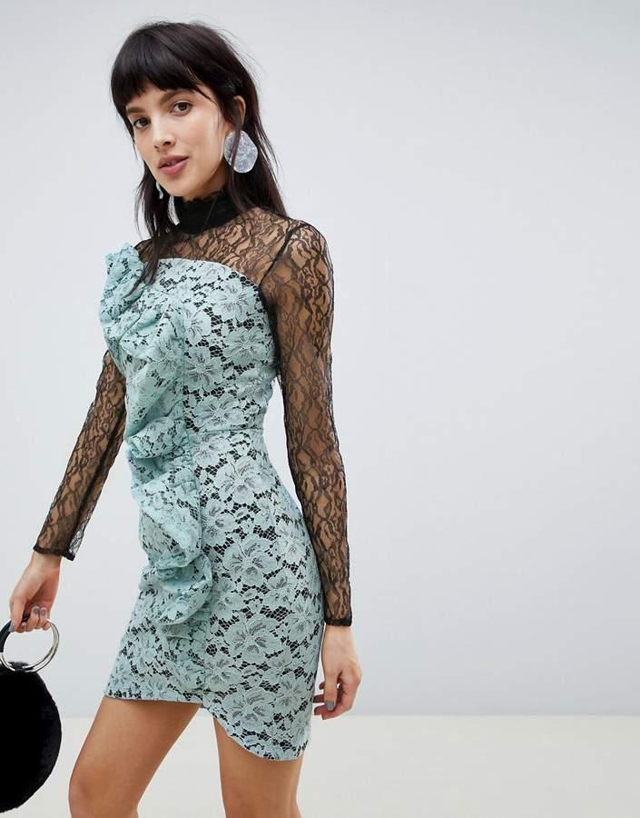 Asos Design Frill Long Sleeve Ruffle Front Mini Dress