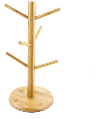 Unique Bargains Bamboo Hanging Display Coffee Tea Glass Cup Holders Bracket Mug Tree