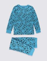Marks and Spencer Cotton Rich Football Print Skinny Fit Pyjamas (1-16 Years)