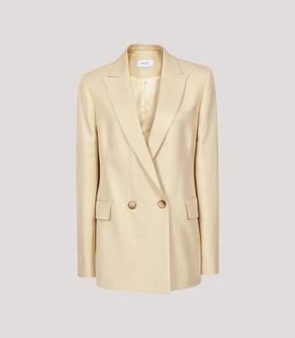 Reiss Olivia - Satin Twill Tailored Blazer in Lemon