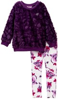 Juicy Couture Faux Fur Tunic & Floral Print Leggings Set (Toddler Girls)