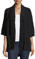 Johnny Was Tribal Half-Sleeve Embroidered Kimono Jacket, Black, Plus Size