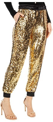 Versace Gold Sequin Jogger (Gold) Women's Casual Pants